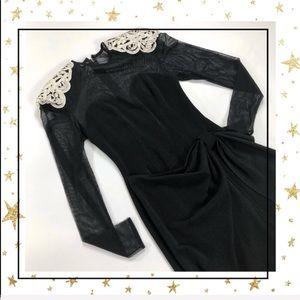 Betsy&Adam black wrap dress/white padded shoulders